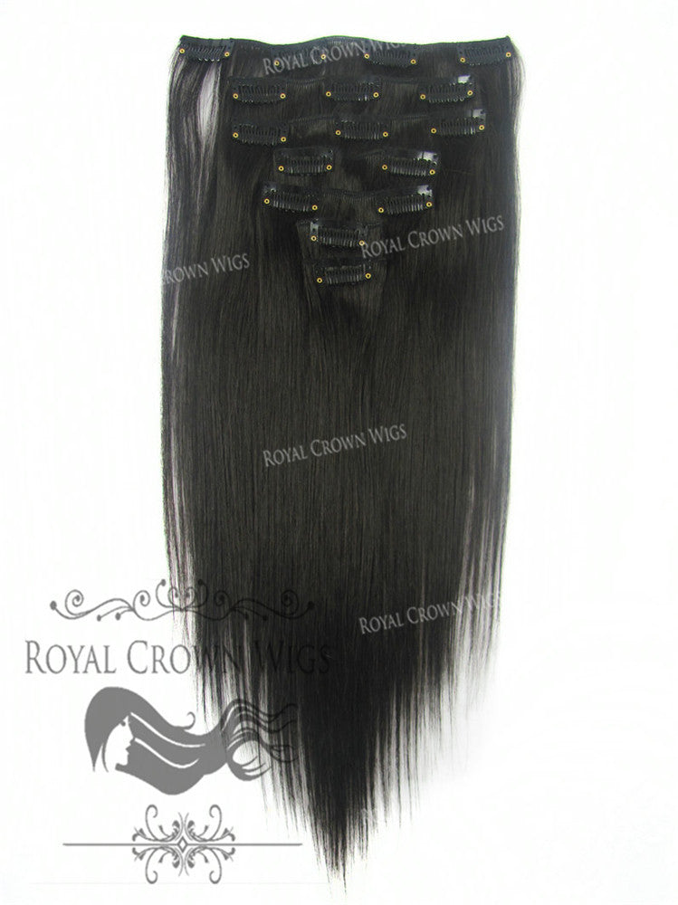 Shop Brazilian 7 Piece Straight Human Hair Weft Clip In Extensions
