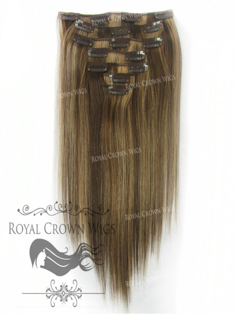 Brazilian 7 Piece Straight Human Hair Weft Clip-In Extensions in #4/#27, Clip-In Hair Extension, Royal Crown Wigs