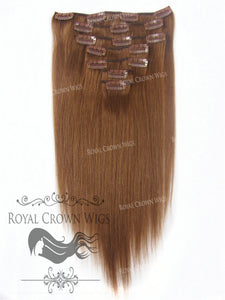 Brazilian 7 Piece Straight Human Hair Weft Clip-In Extensions in #30, Clip-In Hair Extension, Royal Crown Wigs