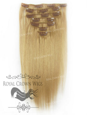 Brazilian 7 Piece Straight Human Hair Weft Clip-In Extensions in #8, Clip-In Hair Extension, Royal Crown Wigs