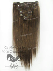Brazilian 7 Piece Straight Human Hair Weft Clip-In Extensions in #4, Clip-In Hair Extension, Royal Crown Wigs
