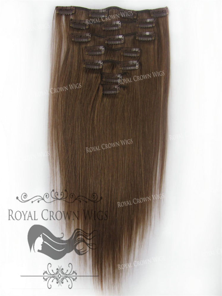 Brazilian 7 Piece Straight Human Hair Weft Clip-In Extensions in #6, Clip-In Hair Extension, Royal Crown Wigs