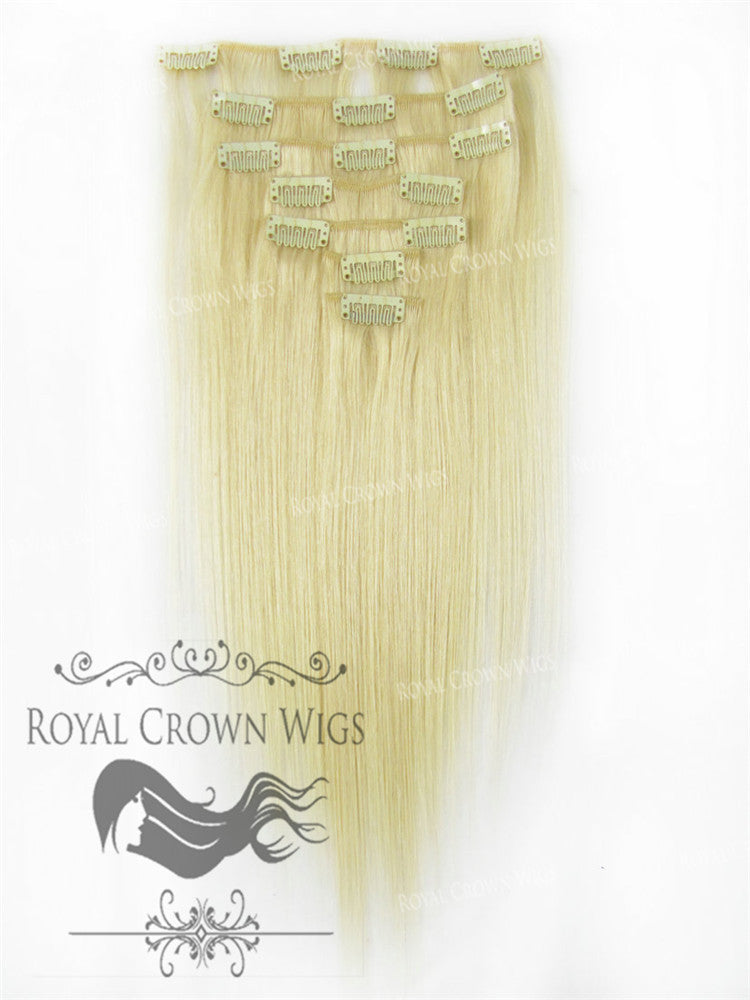 Brazilian 7 Piece Straight Human Hair Weft Clip-In Extensions in #60, Clip-In Hair Extension, Royal Crown Wigs