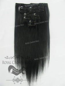 Brazilian 7 Piece Straight Human Hair Weft Clip-In Extensions in #1, Clip-In Hair Extension, Royal Crown Wigs