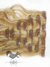 Brazilian 7 Piece Body Wave Human Hair Weft Clip-In Extensions in #27/#613, Clip-In Hair Extension, Royal Crown Wigs