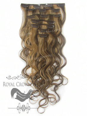 Brazilian 7 Piece Body Wave Human Hair Weft Clip-In Extensions in #4/#27, Clip-In Hair Extension, Royal Crown Wigs