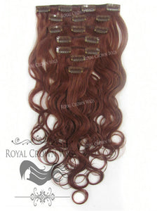 Brazilian 7 Piece Body Wave Human Hair Weft Clip-In Extensions in #33, Clip-In Hair Extension, Royal Crown Wigs