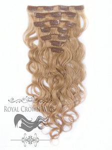 Brazilian 7 Piece Body Wave Human Hair Weft Clip-In Extensions in #16, Clip-In Hair Extension, Royal Crown Wigs