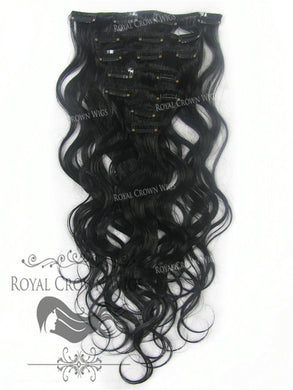 Brazilian 7 Piece Body Wave Human Hair Weft Clip-In Extensions in #1, Clip-In Hair Extension, Royal Crown Wigs
