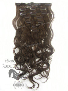 Brazilian 7 Piece Body Wave Human Hair Weft Clip-In Extensions in #4, Clip-In Hair Extension, Royal Crown Wigs
