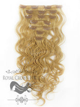 Brazilian 7 Piece Body Wave Human Hair Weft Clip-In Extensions in #14, Clip-In Hair Extension, Royal Crown Wigs