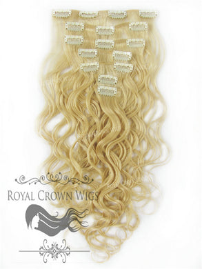 Brazilian 7 Piece Body Wave Human Hair Weft Clip-In Extensions in #613, Clip-In Hair Extension, Royal Crown Wigs