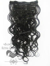 Brazilian 7 Piece Body Wave Human Hair Weft Clip-In Extensions in #1B, Clip-In Hair Extension, Royal Crown Wigs