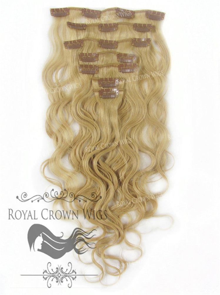 Brazilian 7 Piece Body Wave Human Hair Weft Clip-In Extensions in #24, Clip-In Hair Extension, Royal Crown Wigs