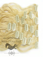 Brazilian 7 Piece Body Wave Human Hair Weft Clip-In Extensions in #22/#613, Clip-In Hair Extension, Royal Crown Wigs