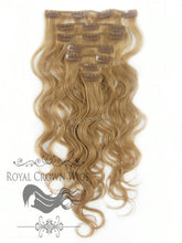 Brazilian 7 Piece Body Wave Human Hair Weft Clip-In Extensions in #8, Clip-In Hair Extension, Royal Crown Wigs