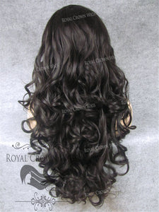 "26 inch Heat Safe Synthetic Lace Front in Curly Texture ""Calypso"" in Dark/Medium Brown, Synthetic Wig, Royal Crown Wigs"