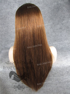 18 inch Full Lace Human Hair Wig with Straight Texture in #30 Auburn with #1b Root, Human Hair Wig, Royal Crown Wigs