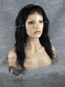 16 Inch Lace Front Human Hair Wig with Straight Wave Texture in Black, Human Hair Wig, Royal Crown Wigs