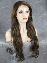 "26"" Heat Safe Synthetic Lace Front ""Constance"" with Curly Texture in Medium Brown Mix, Synthetic Wig, Royal Crown Wigs"