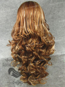 "26 inch Heat Safe Synthetic Lace Front in Curly Texture ""Calypso"" in Reddish Brown/Blonde Mix, Synthetic Wig, Royal Crown Wigs"