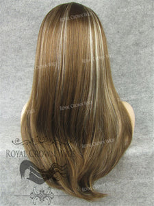"24 inch Synthetic Straight Texture Lace Front ""Aphrodite"" in Light Chestnut Brown and Ash Blonde Mix, Synthetic Wig, Royal Crown Wigs"