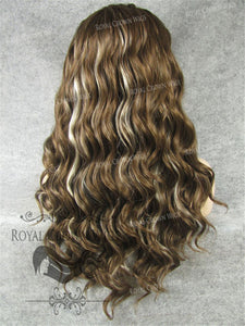 24 inch Synthetic Lace Front with Wave Texture in Brown with Platinum Highlights, Synthetic Wig, Royal Crown Wigs