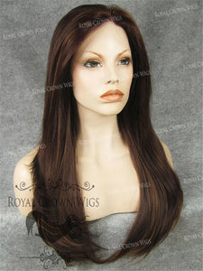 "24 inch Synthetic Straight Texture Lace Front ""Aphrodite"" in Dark Auburn with Soft Highlight Mix, Synthetic Wig, Royal Crown Wigs"