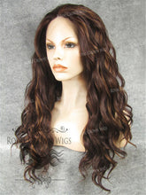 24 inch Synthetic Lace Front with Wave Texture in Reddish Brown Mix, Synthetic Wig, Royal Crown Wigs