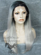 "24 inch Heat Safe Synthetic Straight Texture Lace Front ""Aphrodite"" in Rooted Gray/Silver, Synthetic Wig, Royal Crown Wigs"