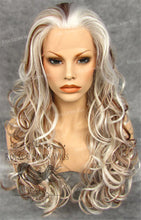 "26 inch Heat Safe Synthetic Lace Front in Curly Texture ""Calypso"" in White with Dark Blonde Lowlights, Synthetic Wig, Royal Crown Wigs"