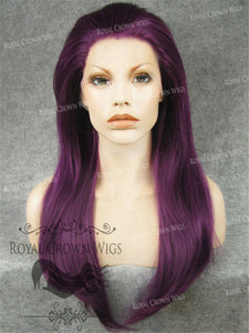"24 inch Heat Safe Synthetic Straight Texture Lace Front ""Aphrodite"" in Royal Purple, Synthetic Wig, Royal Crown Wigs"