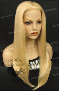 "24 inch Heat Safe Synthetic Straight Texture Lace Front ""Aphrodite"" in Platinum Blonde, Synthetic Wig, Royal Crown Wigs"
