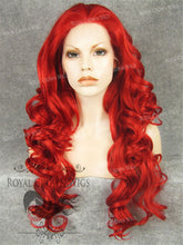 "26 inch Heat Safe Synthetic Lace Front in Curly Texture ""Calypso"" in Red, Synthetic Wig, Royal Crown Wigs"