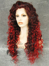 "20 inch Heat Safe Synthetic Curly Texture Lace Front ""Venus"" in Dark Red to Crimson Ombre, Synthetic Wig, Royal Crown Wigs"