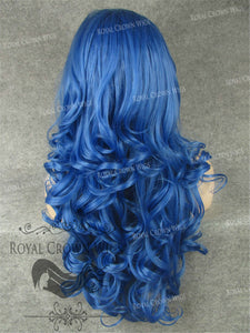 "26 inch Heat Safe Synthetic Lace Front in Curly Texture ""Calypso"" in Blue, Synthetic Wig, Royal Crown Wigs"