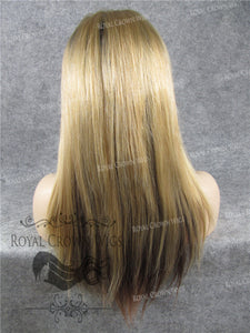16 Inch Lace Front Human Hair Wig with Straight Texture in Blonde With Root and Low Lights, Human Hair Wig, Royal Crown Wigs
