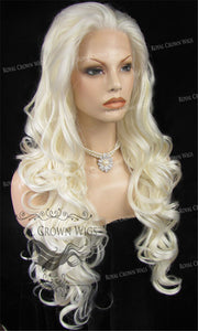 "26 inch Heat Safe Synthetic Lace Front in Curly Texture ""Calypso"" in White/Platinum Blonde Mix, Synthetic Wig, Royal Crown Wigs"
