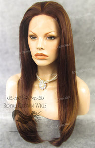 "24 inch Heat Safe Synthetic Straight Texture Lace Front ""Aphrodite"" in Reddish Medium Brown Mix, Synthetic Wig, Royal Crown Wigs"