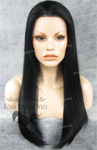 "24 inch Heat Safe Synthetic Straight Texture Lace Front ""Aphrodite"" in Jet Black, Synthetic Wig, Royal Crown Wigs"