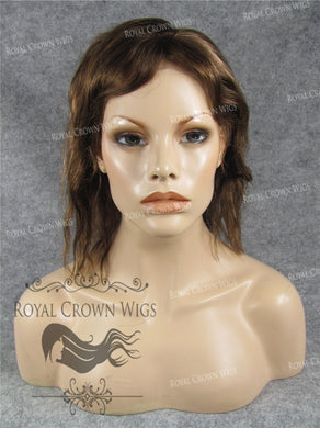 10 Inch Lace Front Human Hair Wig with Straight Wave Texture in Medium Brown/Blonde Mix, Human Hair Wig, Royal Crown Wigs
