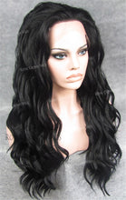 24 inch Synthetic Lace Front with Wave Texture in Black, Synthetic Wig, Royal Crown Wigs