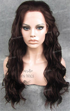 24 inch Synthetic Lace Front with Wave Texture in Burgundy Brown, Synthetic Wig, Royal Crown Wigs