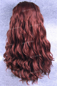 24 inch Synthetic Lace Front with Wave Texture in Rich Red, Synthetic Wig, Royal Crown Wigs