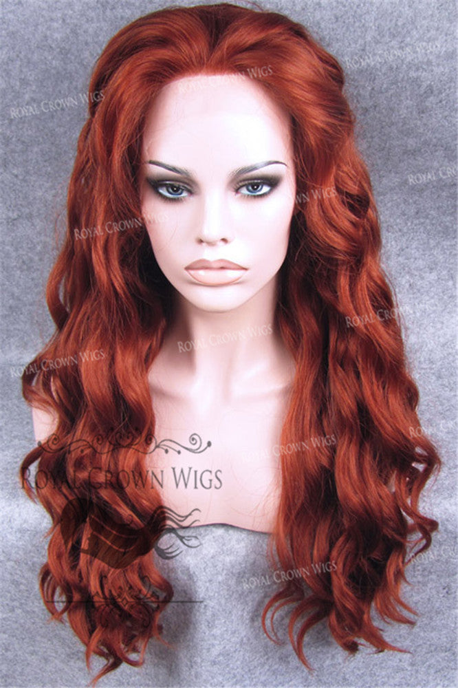 24 inch Synthetic Lace Front with Wave Texture in Royal Red, Synthetic Wig, Royal Crown Wigs
