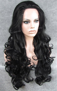 "26 inch Heat Safe Synthetic Lace Front in Curly Texture ""Calypso"" in Black, Synthetic Wig, Royal Crown Wigs"