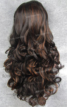 "26 inch Heat Safe Synthetic Lace Front in Curly Texture ""Calypso"" in Dark Brown/Reddish Blonde Mix, Synthetic Wig, Royal Crown Wigs"