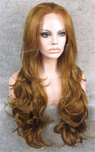 "26"" Heat Safe Synthetic Lace Front ""Constance"" with Curly Texture in Reddish Golden Blonde, Synthetic Wig, Royal Crown Wigs"