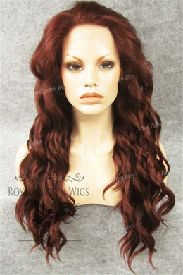 24 inch Synthetic Lace Front with Wave Texture in Red, Synthetic Wig, Royal Crown Wigs