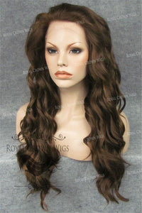 24 inch Synthetic Lace Front with Wave Texture in Brown/Blonde Mix, Synthetic Wig, Royal Crown Wigs